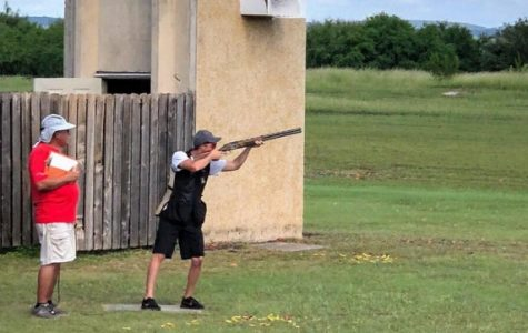 Brandon Stone competes in the .28 gauge event during the NSSA Worlds in San Antonio.   Photo courtesy of Terra Stone.