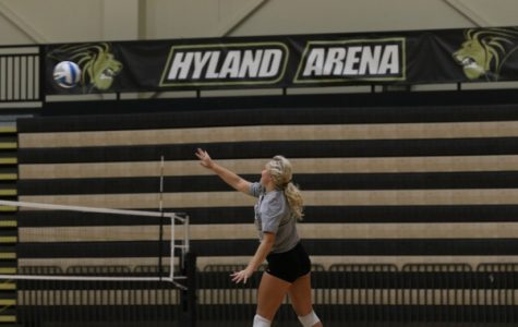 Allyson Clancy serves a ball during practice at the beginning of the season in October 2018. Clancy now holds Lindenwood's program record for assists and is the first NCAA player to record 3,000.  <br />Photo by Merlina San Nicolás