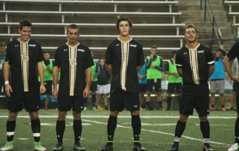 File photo: Leon Silva (far left) and Fernando Cordero (8) line-up with their Lindenwood teammates ahead of a Lions' men's soccer game.  <br /> Photo courtesy of Leon Silva.
