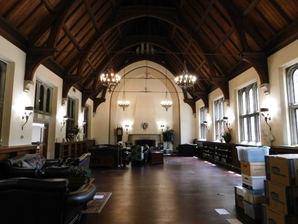 The interior of Butler Library in August 2017 after it was indefinitely closed.  The building was opened in 1929 and was designed by prominent St. Louis architect Louis LaBeaume.
