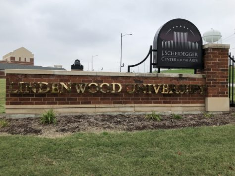 The Lindenwood sign outside of the J. Scheidegger Center For The Arts.  Photo by Taylor McDaniel