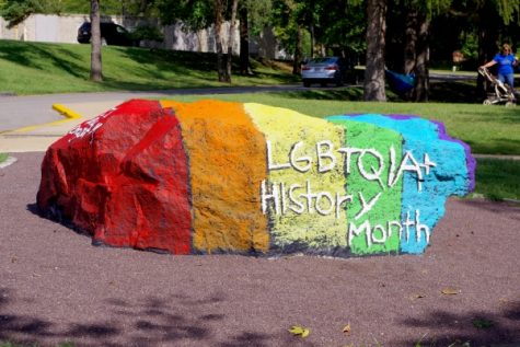 The Lion Pride rock painted by Genders/Sexualities Alliance in 2018.
