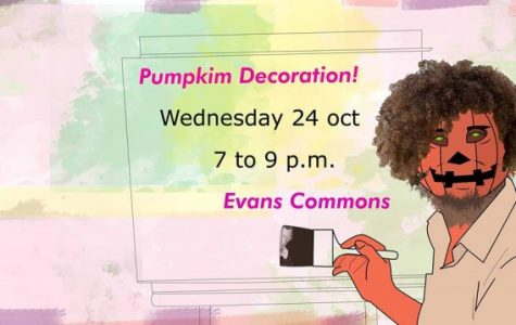 A pumpkin decoration event will be held on Wednesday, Oct. 24, in Evans Commons Room 3020.  Illustration used with permission from the International Student Fellowship.
