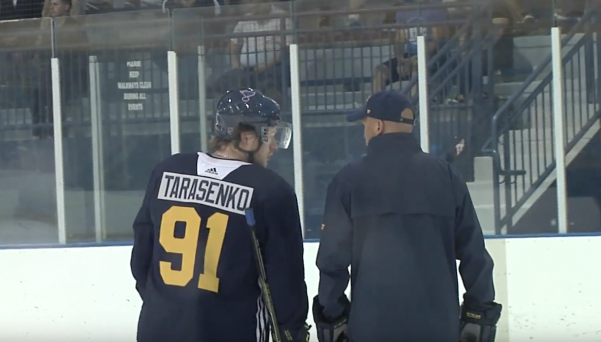 Vladimir+Tarasenko+speaks+with+a+coach+during+the+first+practice+at+the+IceZone+in+Hazelwood+on+Sept.+14.%0A+Photo+by+Neil+Fischer