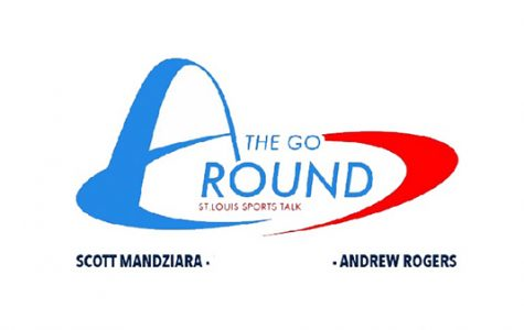 The Go Around, a podcast focused on professional and collegiate sports, hosted by seniors Scott Mandziara and Andrew Rogers. <br> Graphic from Scott Mandziara