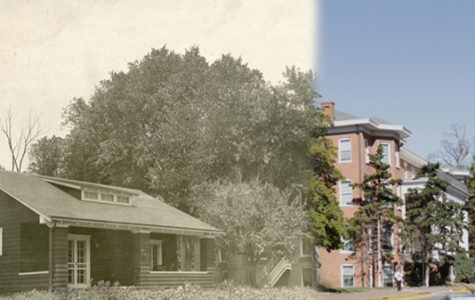 The Gamma House next to Sibley Hall c. 1914, compared to the area today. <br />Archive photo from the Mary E. Ambler Archives.  <br /> Graphic by Matt Hampton.