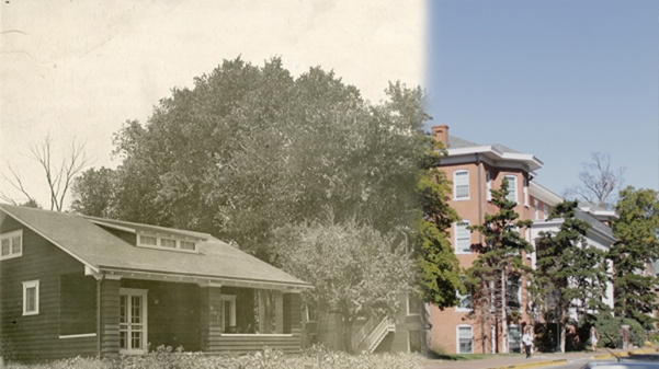 The Gamma House next to Sibley Hall c. 1914, compared to the area today. Archive photo from the Mary E. Ambler Archives.   Graphic by Matt Hampton.