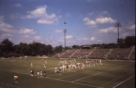 The St. Louis Cardinals football team practices at what is now known as Hunter Stadium at Lindenwood.  <br> Photo from the Mary E. Ambler Archives.