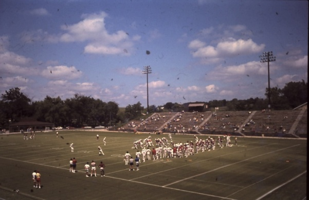The St. Louis Cardinals football team practices at what is now known as Hunter Stadium at Lindenwood.   Photo from the Mary E. Ambler Archives.