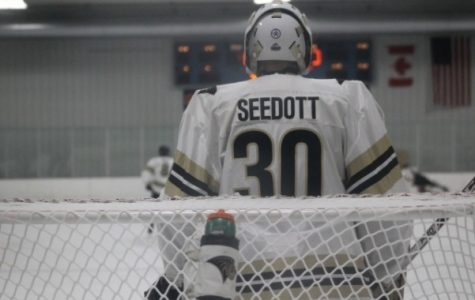 Sophomore Cooper Seedott during a game against the Illini in October.  The goalie has lead the Lions to three shutout wins this season.   Photo by Kayla Bakker.