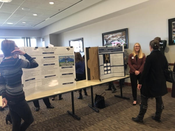 Students presented posters and gave oral presentations of their completed projects on Nov. 10 in the AB Leadership room. Photo by Madeline Raineri.