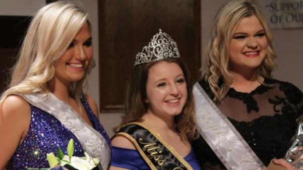 This year's Miss Lindenwood contestant winners. From left: Sarah Moore, second runner-up, Jordyn Lockhart, Miss Lindenwood, and Alaina Colclasure, people's choice.   Photo by Kayla Drake