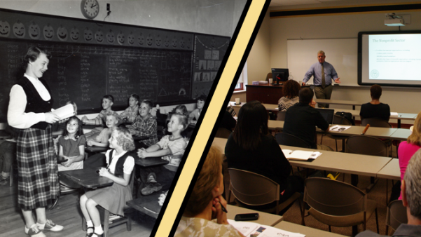 Left:  A Lindenwood student-teacher in the 1950s. Right:  A lecture at Lindenwood in 2015.    Photos from the Mary E. Ambler Archives.   Graphic by Matt Hampton.