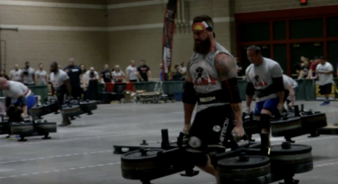 A Strongman competitor crosses the finish line for the frame carry event on Oct. 27 for the North American Strongman Championships. <br> Photo by Kayla Drake