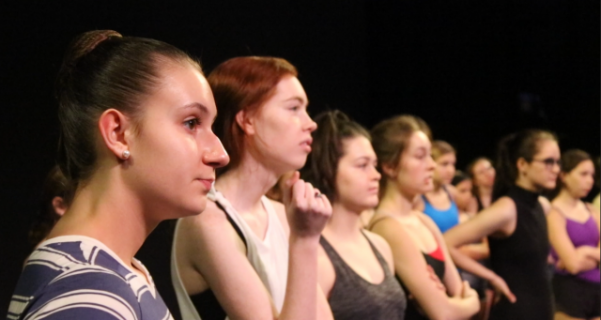 Local high schoolers are introduced to adjunct professor, Lindsay Hawkins, who taught a contemporary jazz routine.  Photo by Kayla Drake