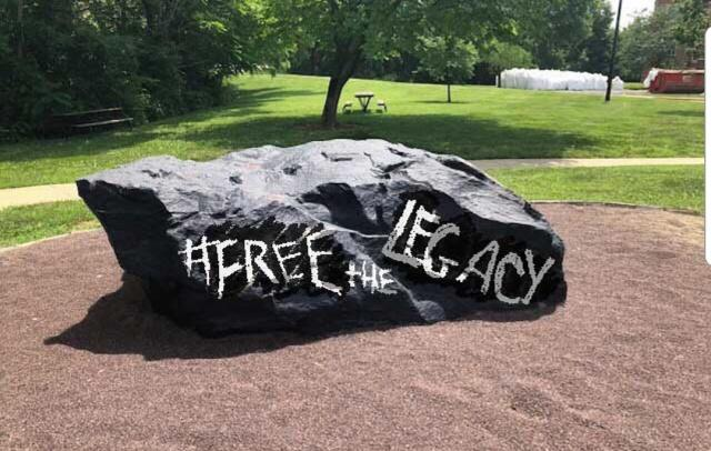 Back in July, before school and resumed and Lindenlink was mourning the loss of its print publication, The Legacy, the rock was convenient for a meme. But even then, the rock proved useful for declaring a message.  <br>Graphic by Kat Owens