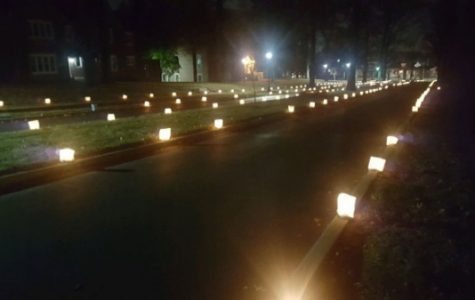 Luminaries along the main avenue towards alumni gate during Christmas Walk.  <br> Photo by Matt Hampton.