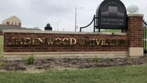The Lindenwood sign outside the J. Scheidegger Center.   Photo by Taylor McDaniel.