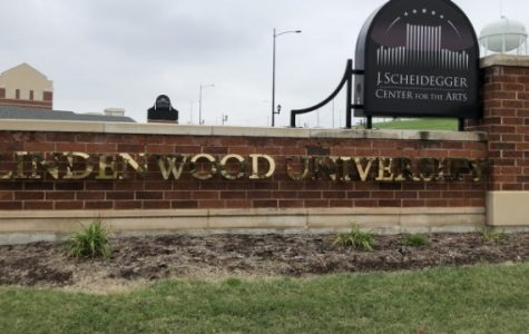 The Lindenwood sign outside the J. Scheidegger Center.  <br> Photo by Taylor McDaniel.