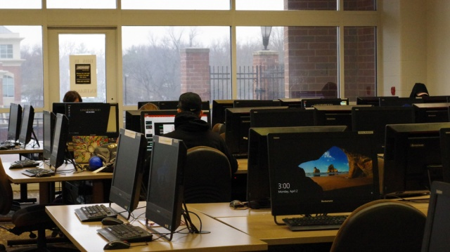The computer lab in the Spellmann Center.