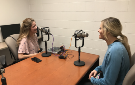 Rachel Higgins and Caroline Campbell recording an episode of their weekly podcast