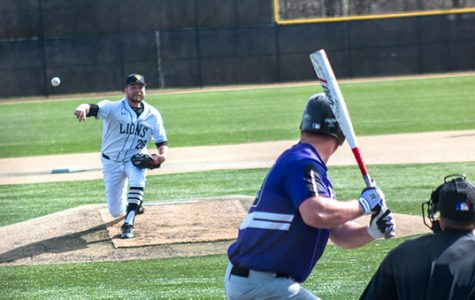 Lindenwood pitcher Austin Georgen pitches in a game last season. Coach Doug Bletcher said that pitching will be key to the Lions' success this year. <br> Photo by Tyler Keohane