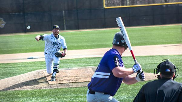 Lindenwood pitcher Austin Georgen pitches in a game last season. Coach Doug Bletcher said that pitching will be key to the Lions' success this year.  Photo by Tyler Keohane
