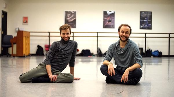 Zackery Betty, left, and Nick Neagle came from New York City for four days to work with Lindenwood dance students.  Photo by Mitchell Kraus