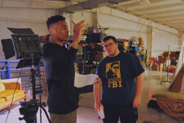 Keaton Jones, left, and Chase Pruitt, right, work on an episode of Dorm Room Entertainment. Photo used with permission from Keaton Jones