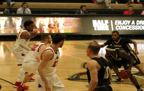 File photo: The Lindenwood Lions won against the University of Central Missouri Mules with a final score of 78-72 on Feb. 27 at the Hyland Arena. <br> Photo by Matt Hampton