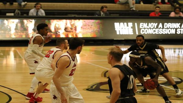File photo: The Lindenwood Lions won against the University of Central Missouri Mules with a final score of 78-72 on Feb. 27 at the Hyland Arena.  Photo by Matt Hampton
