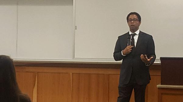St.+Louis+County+Prosecutor+Wesley+Bell+spoke+in+Harmon+Hall+last+week.++%3Cbr%3E+Photo+by+Matt+Hampton