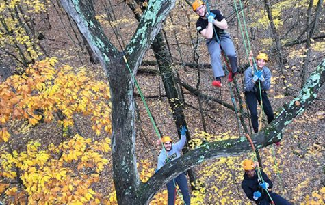 Lindenwood students  in the Recreational Tree Climbing class hang from a white oak tree at the Wyman Center in Eureka, Missouri. <br> Photo provided by Jon Richard