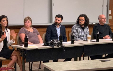 (From left)  Ashleigh Anton, Melissa Spears, Alex Ferrario, Devin King, and Mike Rosenthal spoke with students about media careers in Harmon Hall Thursday afternoon.  <br> Photo by Garrett Anderson