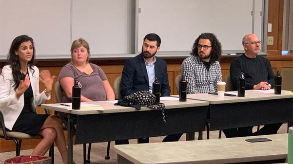 (From left)  Ashleigh Anton, Melissa Spears, Alex Ferrario, Devin King, and Mike Rosenthal spoke with students about media careers in Harmon Hall Thursday afternoon.   Photo by Garrett Anderson