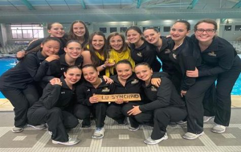 The Lindenwood Synchronized team after competition at the Palo Alto Acuatic Center in San Antonio, Texas. <br /> Photo provided by Marialaura Villasana.