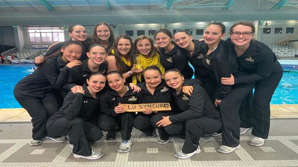 The Lindenwood Synchronized team after competition at the Palo Alto Acuatic Center in San Antonio, Texas.  Photo provided by Marialaura Villasana.