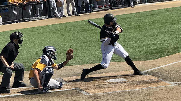Catcher Ryan Sosknowski hits a single to drive in a run in game one of the series against Southwest Baptist on April 22, 2019.