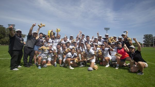 The Lindenwood women's rugby team in Palo Alto, California, after winning the National Championship back to back.  Photo by Alex Ho from USARugby.org