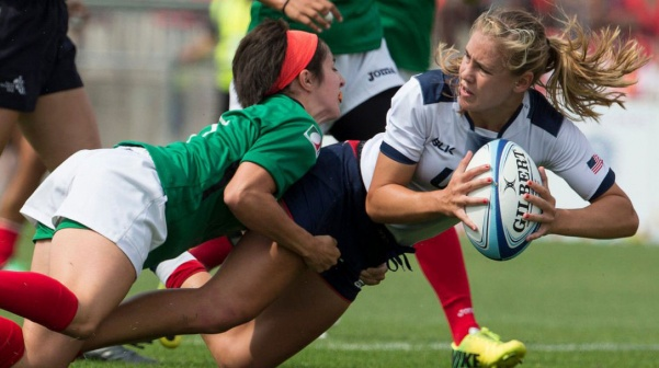 Richelle Stephens plays for USA rugby in 2016 against Mexico. <br> Photo from Richelle Stephens