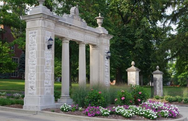 A stone gate to one of the entrances on Lindenwood's St. Charles campus.