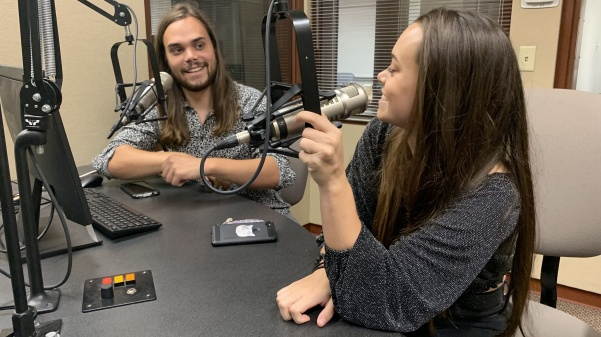 From left: Chris and Jocelyn Arndt talk about their national tour in KCLC studios on August 27.