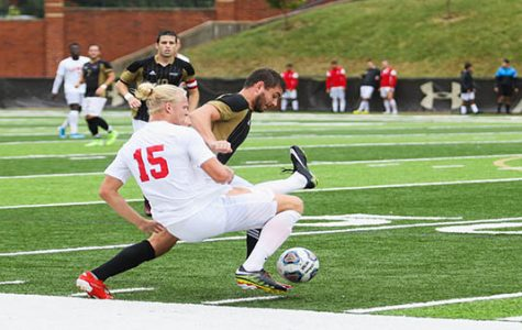 File photo: The Lindenwood Thomas Hutcheson (11) led the offensive plays with three shots against Lewis. The Lions fought through the rain condition, ended up with draw 0-0.