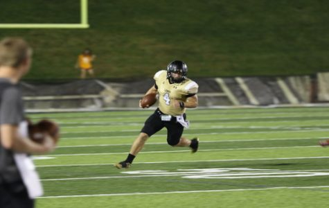 Sophomore Cade Brister in action during a match against William Jewell on Saturday night at Harlen C. Hunter Stadium. <br/> Photo by Caleb Riordan.
