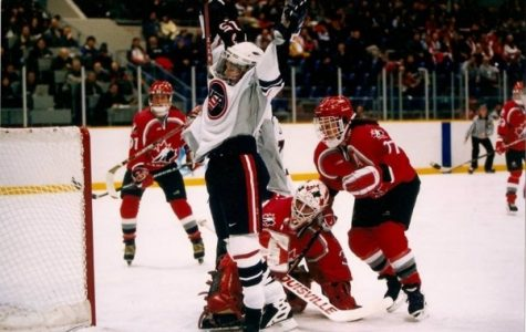 Shelley Looney celebrating the goal she scored to win the 1998 Winter Olympic Games in Japan. <br/> Photo by USA Hockey.