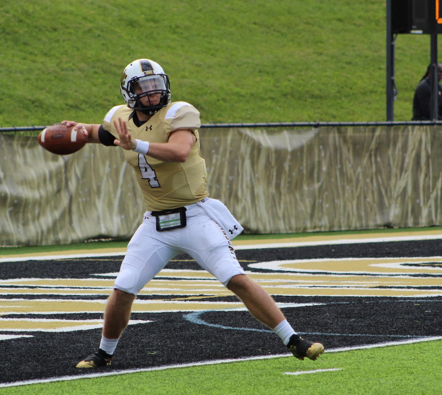 Lindenwood quarterback Cade Brister during the game against Saginaw Valley State.   Photo by Caleb Riordan