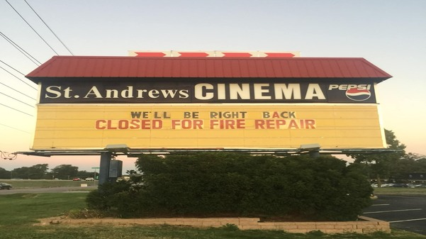 A+marquee+from+St.+Andrews+cinema%2C+just+off+of+I-70.+%3Cbr%2F%3E+Photo+by+Tristan+Ratterman.+