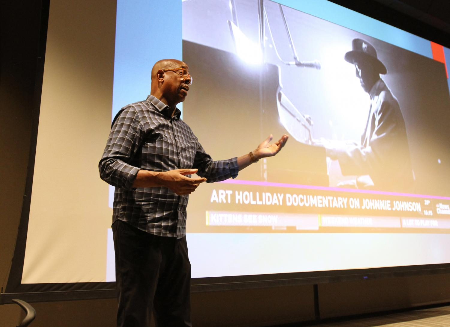 Art Holliday speaks at the screening of his documentary.   Photo by Don Adams Jr., courtesy of Lindenwood University Advancement and Communications