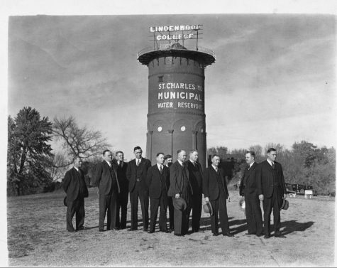 "A photo of the old water tower when it held a neon sign saying ""Lindenwood College"" between the 1920s and 1950s.   Image from the Mary E. Ambler Archives"