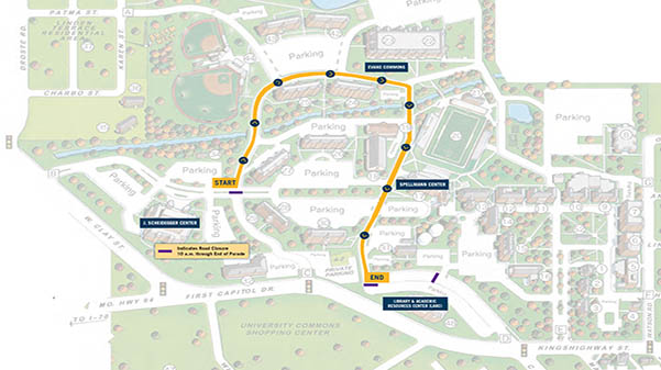 The 2019 Homecoming parade route through campus.  Map provided by Angie Royal